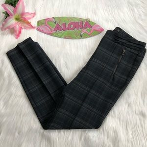 Zara Pants - Zara Basic Tartan Plaid Pintuck Zip Pocket Skinny